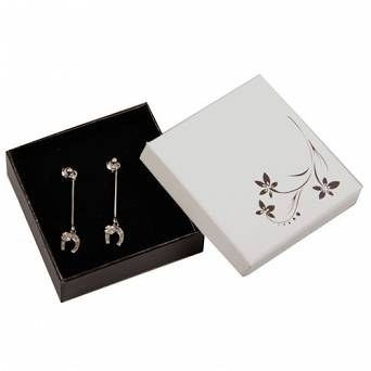 Silver dangling earrings - horse shoe with four-leaf clover / SILVER 13