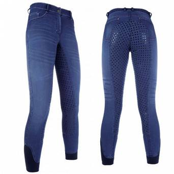HKM Riding breeches youth SUMMER Denim Easy Jeans silicone / 1105