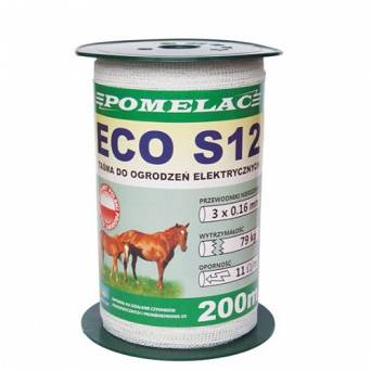 Electric fence tape POMELAC TAŚMA ECO S12 - 200m / 105-020-019