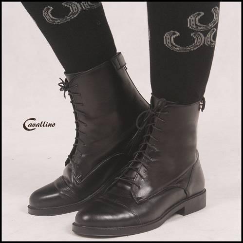 b95c85610e93e 0435701 CAVALLINO Sztyblety jeździeckie damskie- krótkie skórzane buty do  jazdy konnej sznurowane, z zamkiem z tyłu (rozm. od 35 do 41)