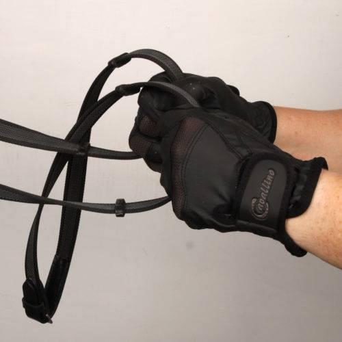 c7d0e448387a2e CAVALLINO Rękawiczki jeździeckie ART z elastycznymi wstawkami / 0825 czarne  z brązowymi wstawkami