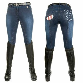 HKM Children's riding breeches STARS & STRIPES- DENIM / 8003