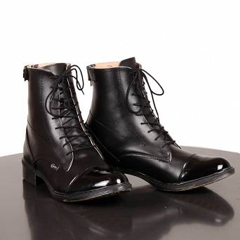 0435791 CAVALLINO Leather jodhpur boots with laces - varnished (sizes: 35-41)