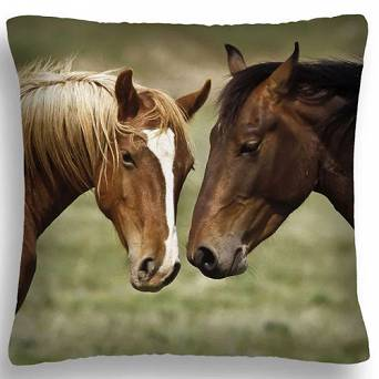 Decorative pillow with horses 40cm x 40cm FULL PRINT